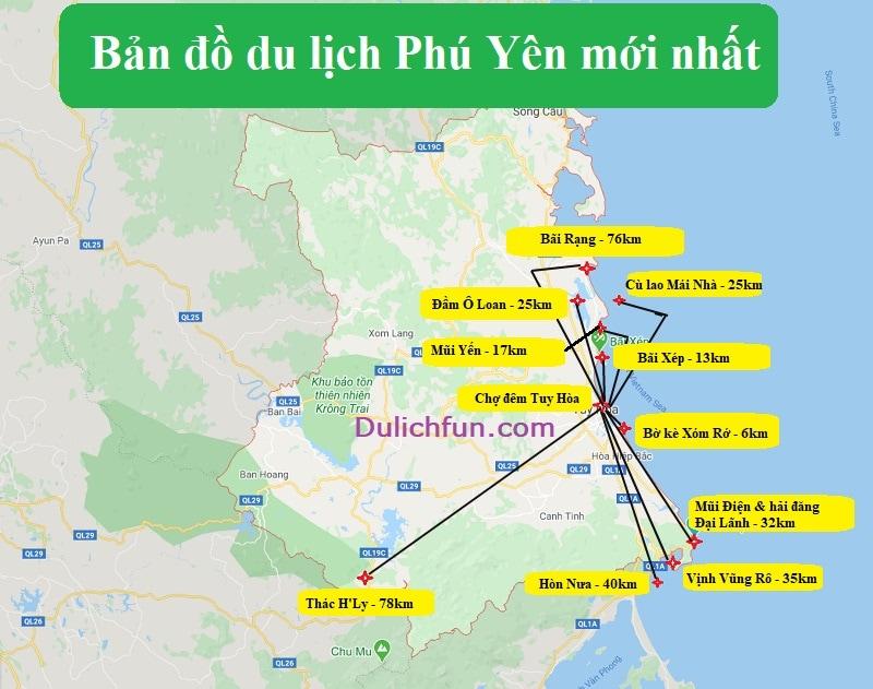 Bản đồ du lịch Phú Yên đầy đủ và chi tiết nhất